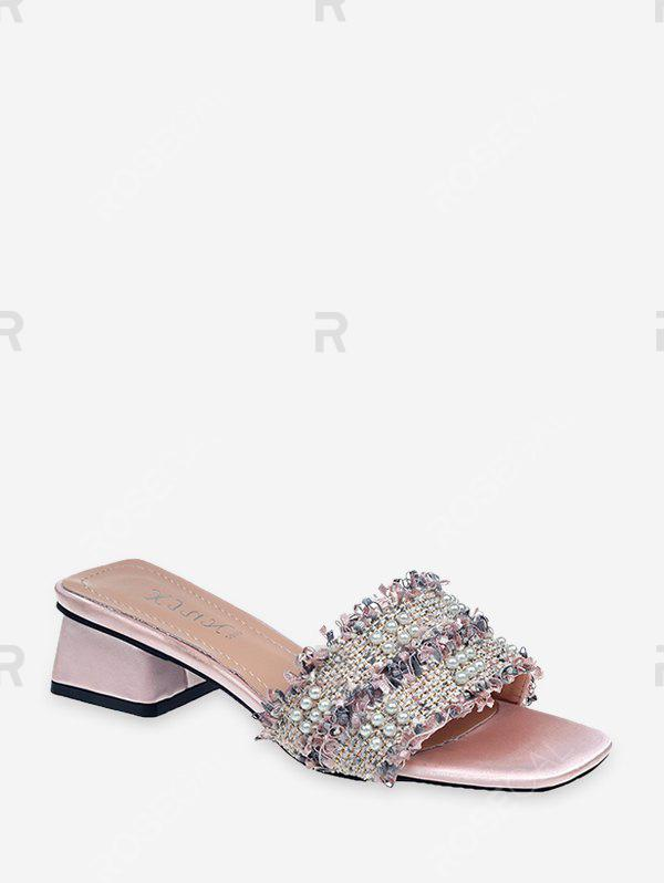 Latest Distressed Trim Faux Pearl Chunky Heel Slides