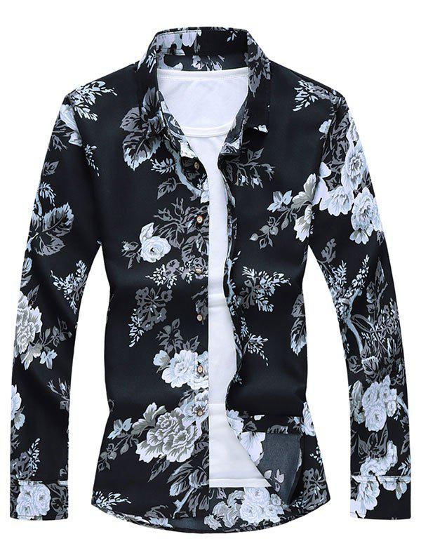 New Floral Leaf Print Button Up Long Sleeve Shirt