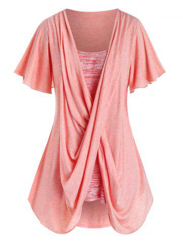 Plus Size Space Dye Crossover Flutter Sleeve Curved Tee - FLAMINGO PINK - L