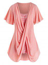Plus Size Space Dye Crossover Flutter Sleeve Curved Tee -