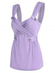 Ruched Button Detail Crossover Tank Top -