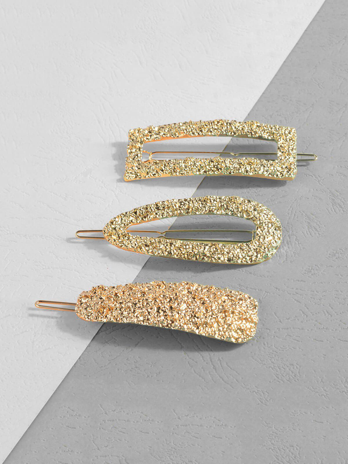 Hollow Out Hammered Hair Clips Set, Gold
