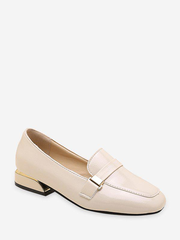 Cheap Minimalist Square Toe Leather Loafer Flats