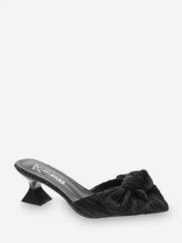 Bowknot Pointed Toe Mid Heel Pumps - BLACK - EU 38
