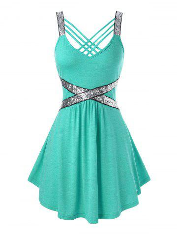 Plus Size Sequins Strappy Tank Top - MACAW BLUE GREEN - 1X