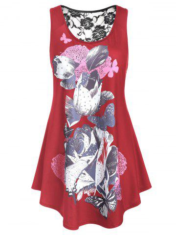 Plus Size Lace Panel Floral Print Tunic Tank Top - CHERRY RED - 2X