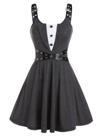 Buckle Straps Button Mini Dress