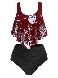 Moon Night Bat Print Pointed Hem Tankini Swimsuit -