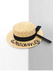 Letter Embellished Straw Hat -