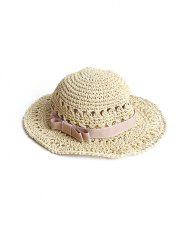 Bowknot Decor Woven Straw Beach Hat -