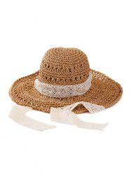 Lace Ribbon Crochet Sun-proof Straw Hat -