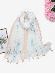 Printed Butterfly Sequins Tassel Long Scarf -