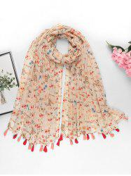 Tiny Floral Printed Tassel Long Scarf -