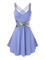 Plus Size Sequins Strappy Tank Top -