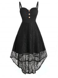 Plus Size Lace High Low Buttoned Backless Sheer Dress -
