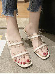 Clear Dual Strap Mid Heel Slides With Studs -