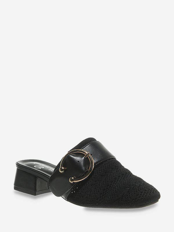 Shops Square Toe Buckled Chunky Heel Shoes