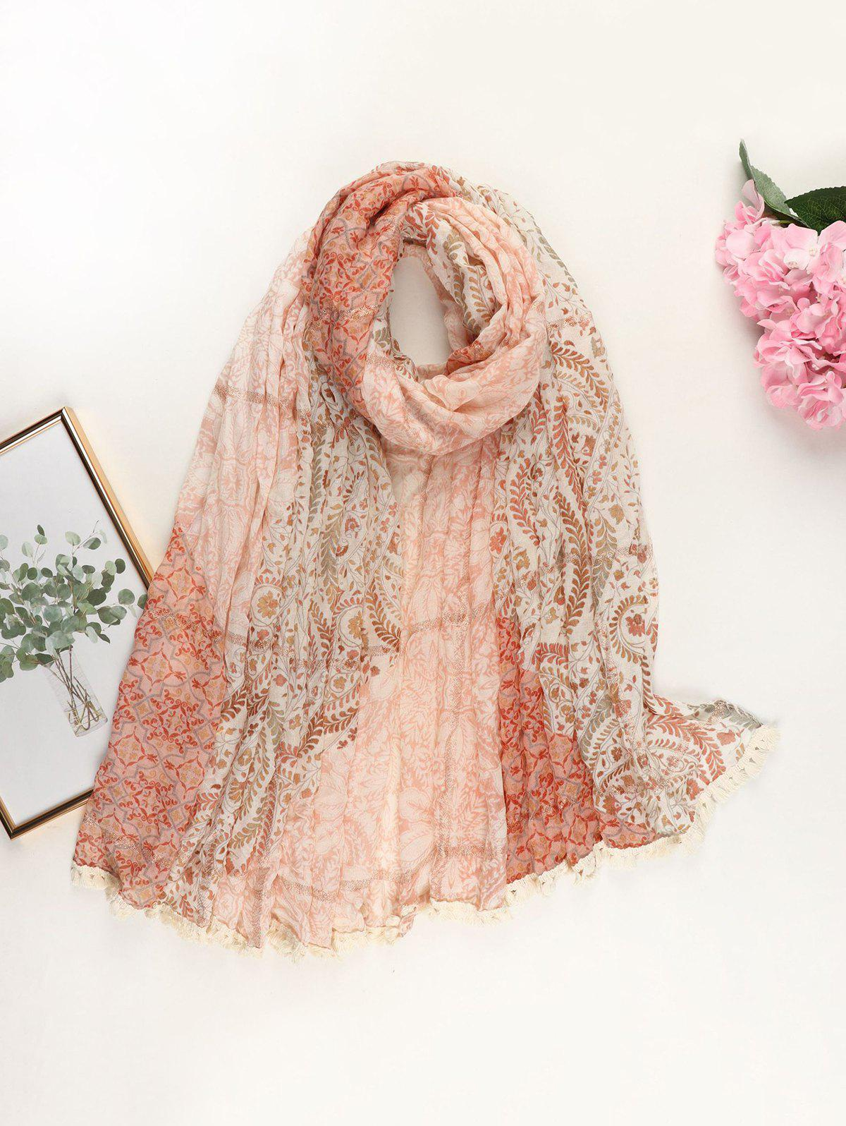 Outfits Ethnic Floral Printed Metallic Tassel Scarf