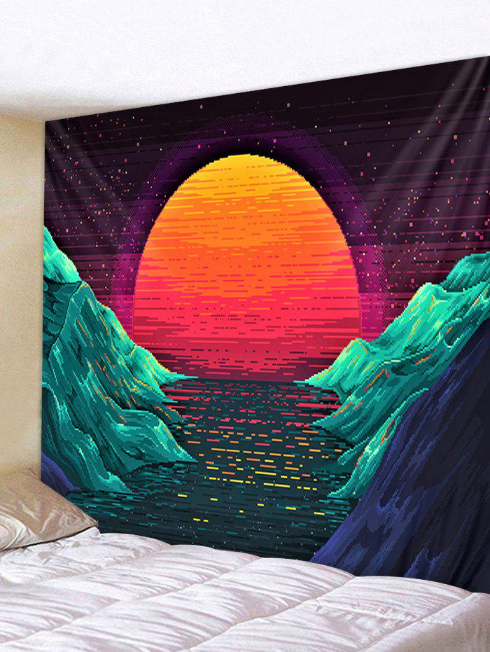 Sunset Mountains Printed Tapestry Wall Hanging Art Decoration, Greenish blue