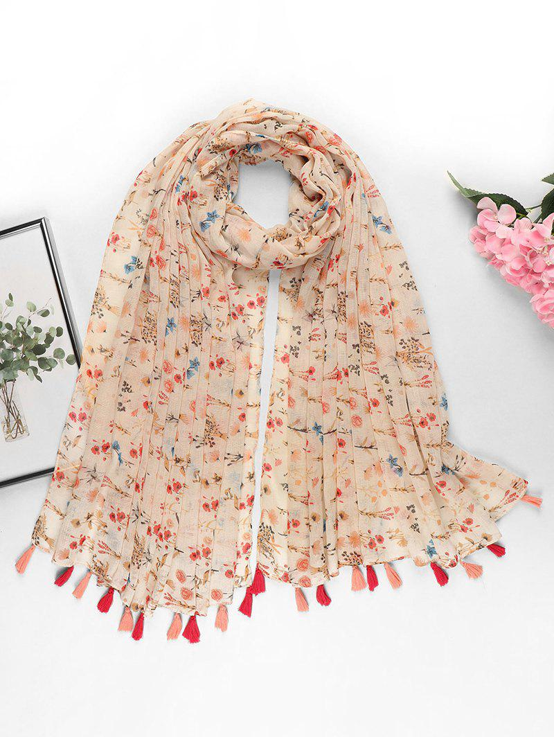 Unique Tiny Floral Printed Tassel Long Scarf