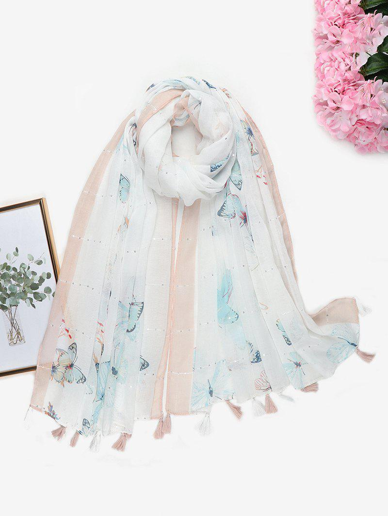 Chic Printed Butterfly Sequins Tassel Long Scarf
