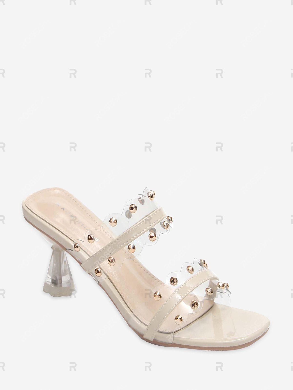 Fancy Clear Dual Strap Mid Heel Slides With Studs