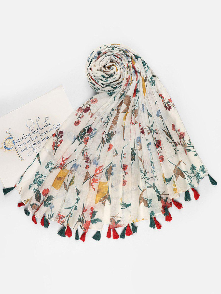 Fashion Fresh Style Floral Printed Tassel Voile Scarf