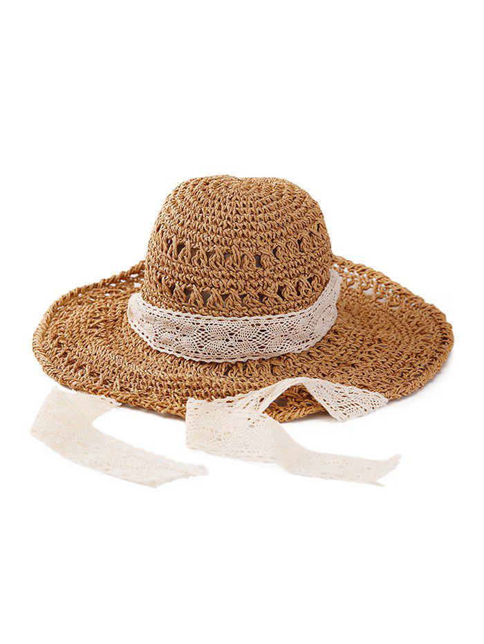 Sale Lace Ribbon Crochet Sun-proof Straw Hat