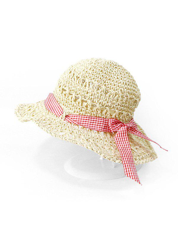 Buy Bowknot Hollow Cut Straw Hat