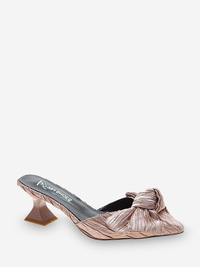 Hot Bowknot Pointed Toe Mid Heel Pumps