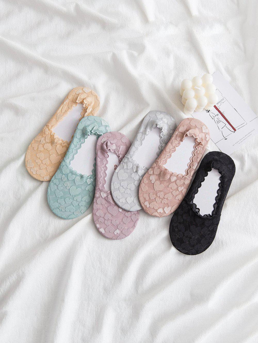 Fashion 6Pairs Heart Pattern Lace Invisible Socks Set