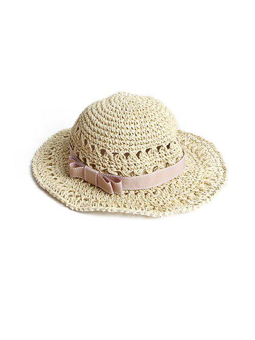 Chic Bowknot Decor Woven Straw Beach Hat