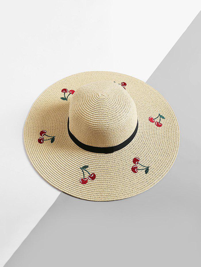 Affordable Cherry Embroidered Floppy Sun Hat