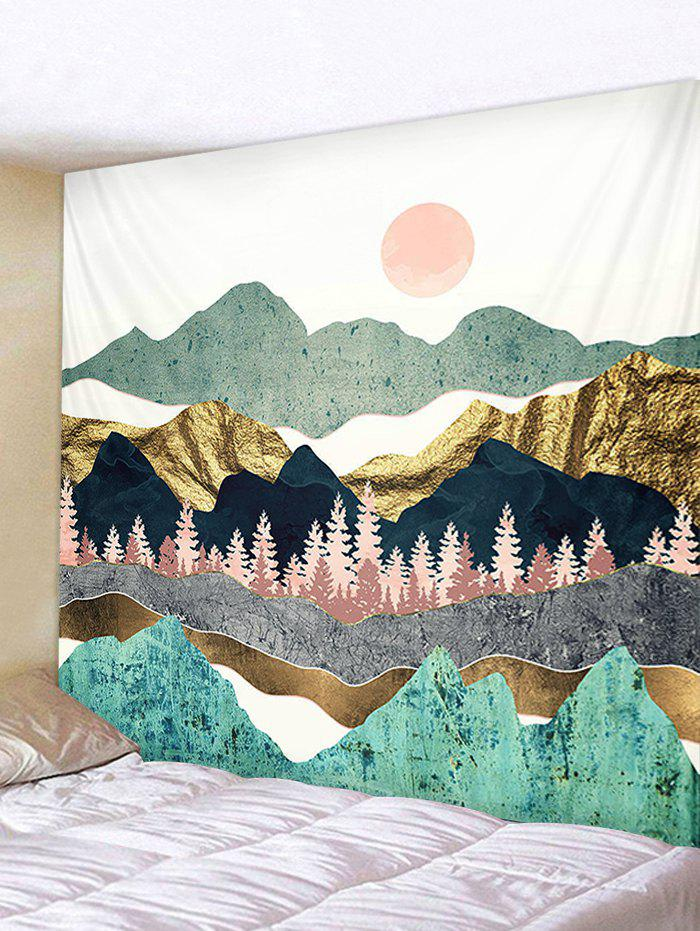 Sun and Mountains Print Tapestry Wall Hanging Art Decoration, Blue hosta