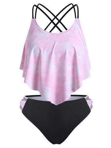 Strappy Flounces Tie Dye Criss Cross Plus Size Tankini Swimwear - PINK - 5X