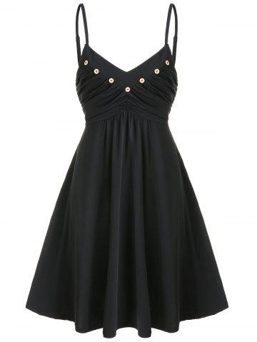 Buttons Ruched Mini Flared Dress