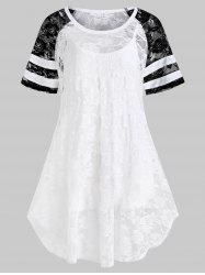 Plus Size Lace Raglan Sleeve Blouse and Camisole Set -