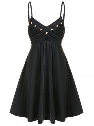 Buttons Ruched Mini Flared Dress -
