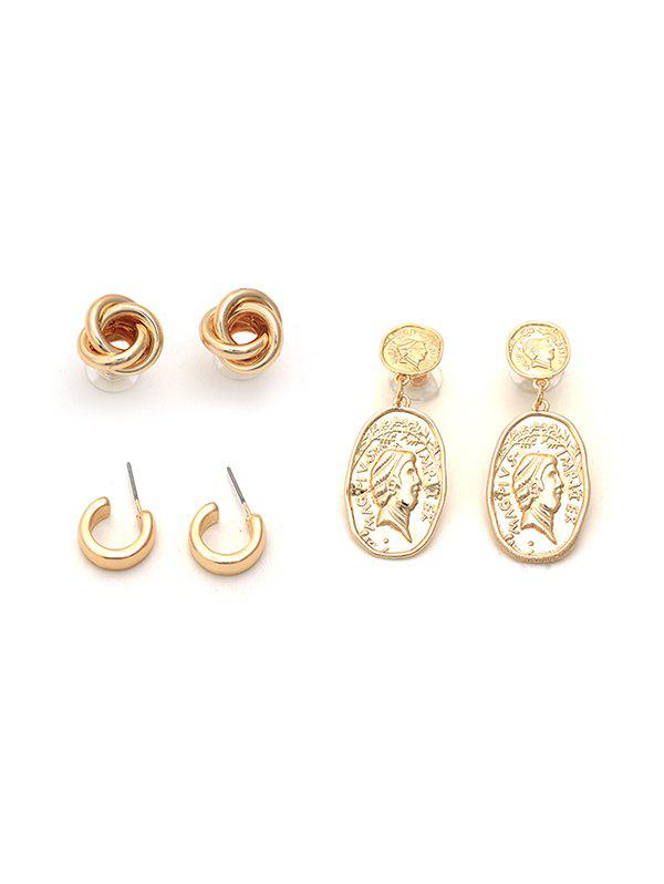 Affordable 3Pairs Portrait C-shaped Knotted Earrings Set