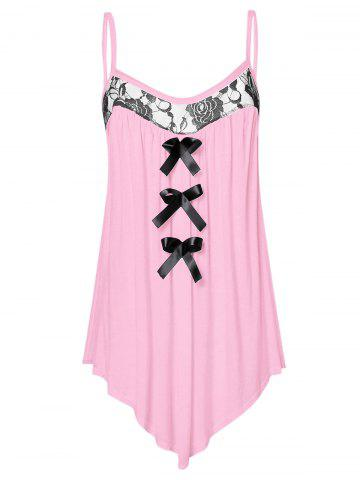 Lace Panel Plus Size Bowknot Embellished Cami Top - PIG PINK - 3X