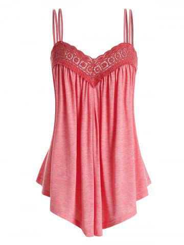 Plus Size Lace Insert Swing Cami Top - PINK - 2X