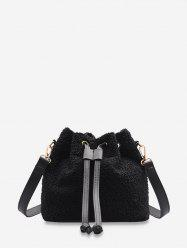 Plush Drawstring Crossbody Bucket Bag -
