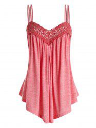 Plus Size Lace Insert Swing Cami Top -