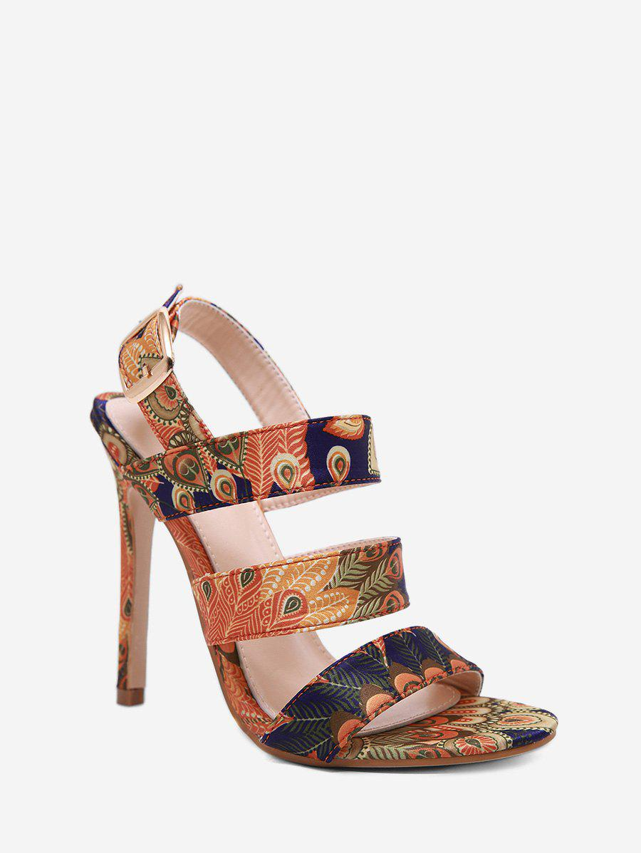 Outfit Peacock Print Super High Heel Ankle Strap Sandals