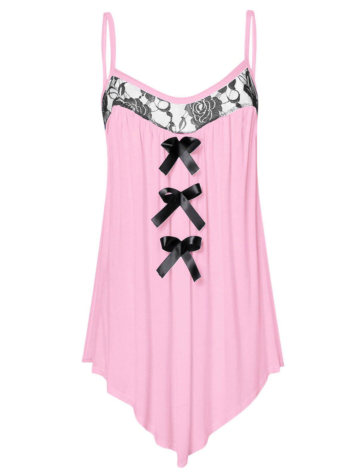 Shop Lace Panel Plus Size Bowknot Embellished Cami Top