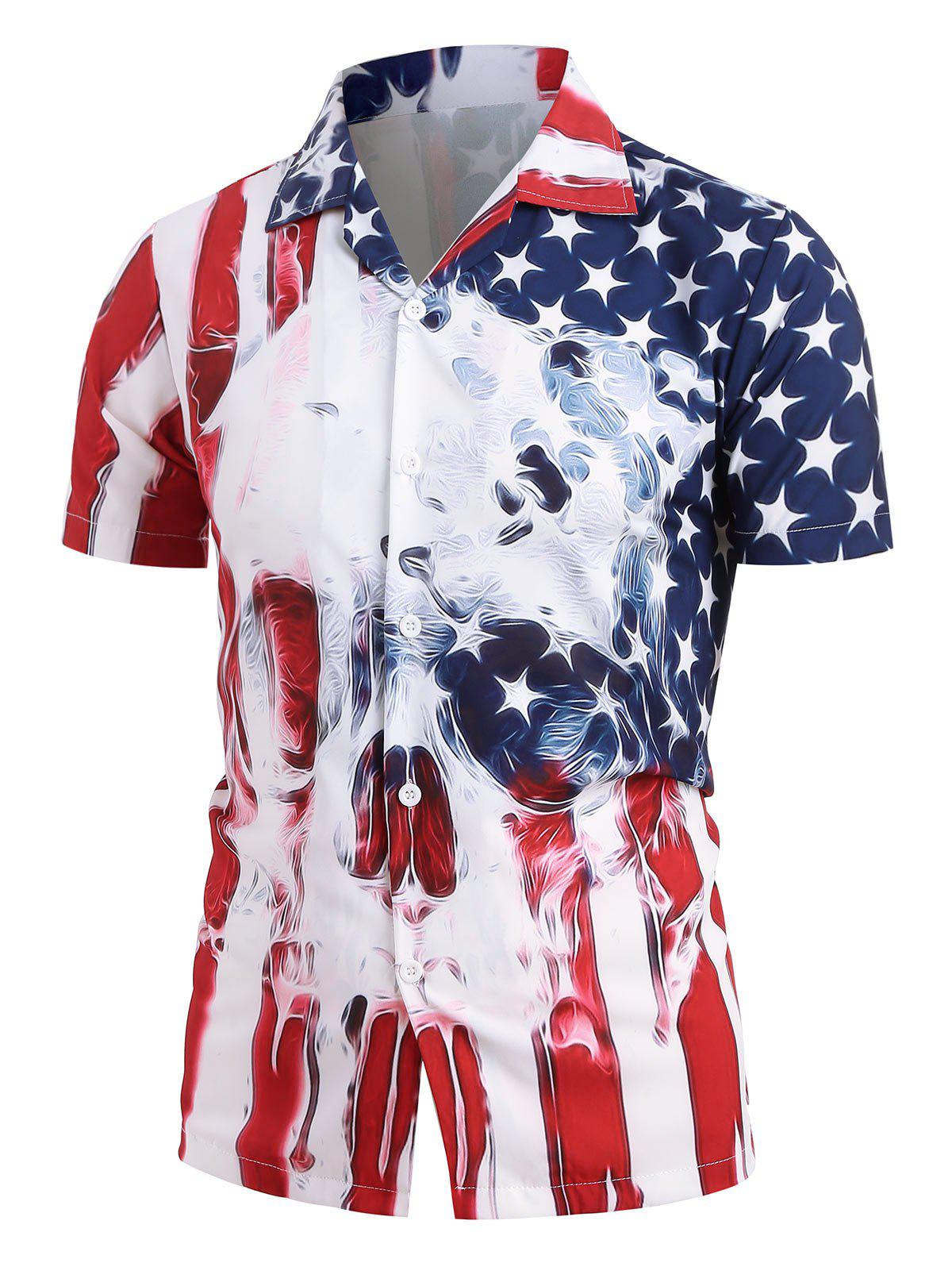 Unique American Flag Skull Print Short Sleeve Shirt