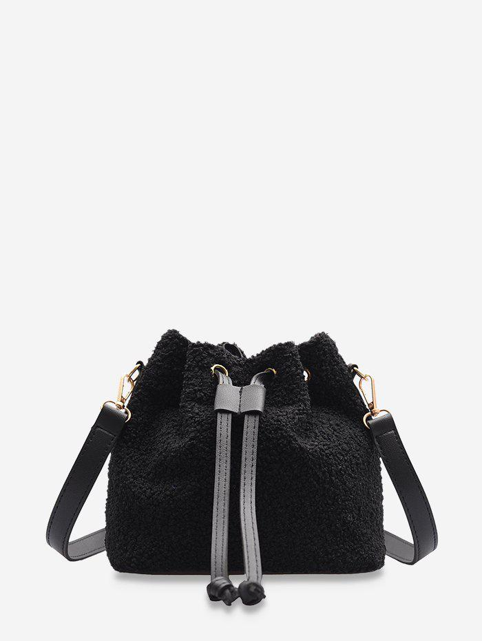 Buy Plush Drawstring Crossbody Bucket Bag