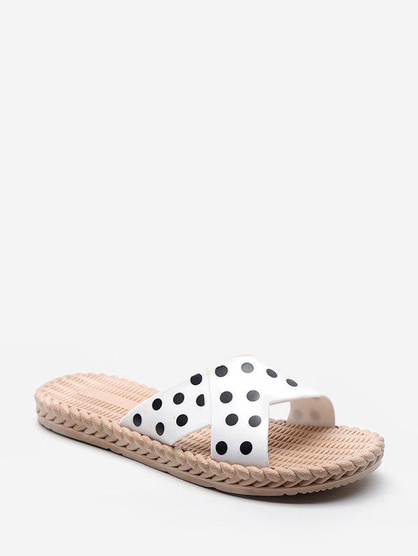 Trendy Beach Polka Dots Print Slides Sandals