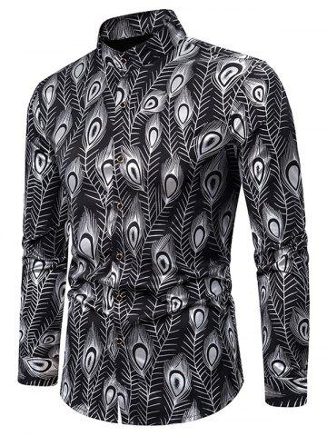 Gilding Peacock Feathers Stand Collar Button Up Shirt - SILVER - L
