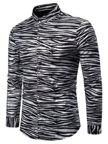 Gilding Zebra Print Stand Collar Button Up Shirt